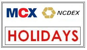 mcx ncdex market holidays timing 2014