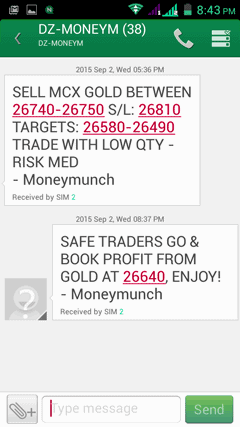 mcx gold tips sms
