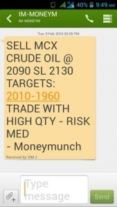 free crude oil intraday tips sms