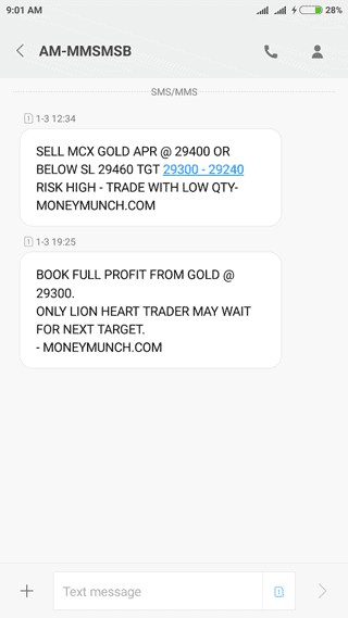 gold intraday tips sms