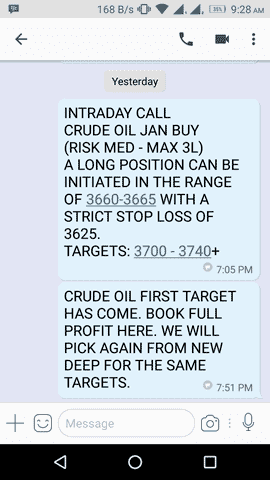 crude oil tips sms